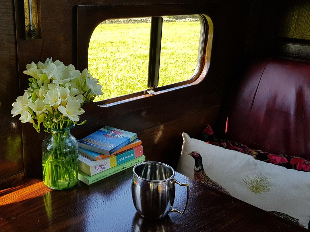 luxury campervan hire seating area